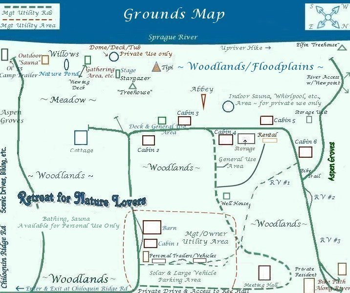 Grounds map for gathering light ... a retreat for nature lovers located in southern Oregon near Crater Lake National Park and klamath basin birding trails. cabins, tree houses, rv camping and vacation rentals in the forest on the river near crater lake national park and klamath basin birding trails.