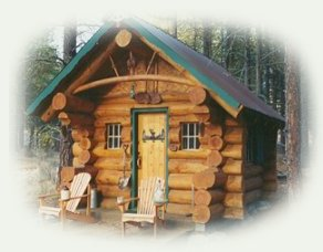 the sunset log cabin is one of the many cabins found at gathering light ... a retreat located in southern oregon near crater lake national park and klamath basin birding trails.